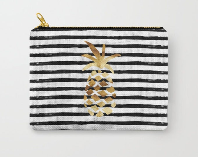 Zipper Pouch - Pineapple and Stripes - Gold Black and White - 3 Sizes Available