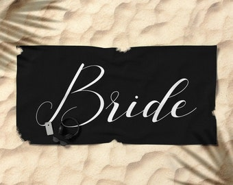 Oversized Beach Towel - Bride - White on Black - Bundle with a Tote and Pouch!