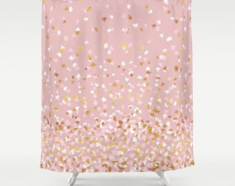 "Shower Curtain - Floating Confetti Dots - Pink Blush White Gold - 71""x74"" - Bath Curtain Bathroom Decor Accessories"