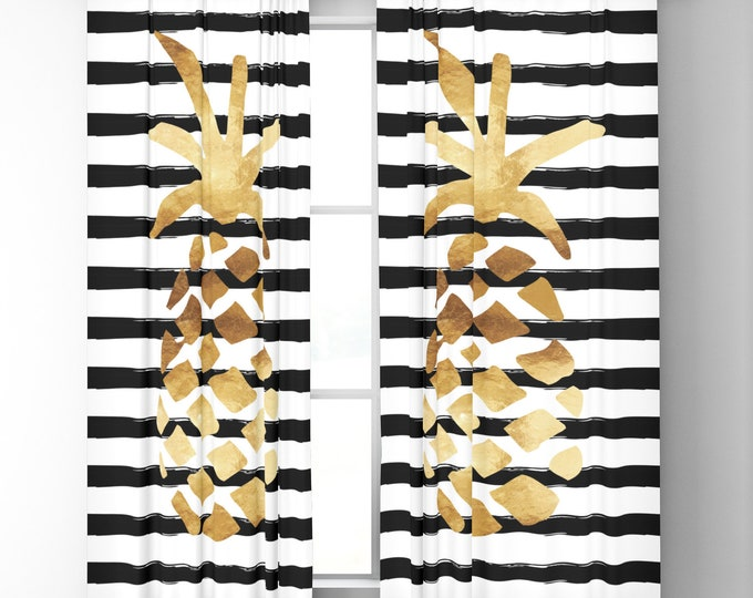 "Window Curtains - Pineapple Stripes - Gold Black White - 50"" x 84"" or 96"" Length - Blackout or Sheer - Rod Pocket - Bedroom Nursery Playroom"