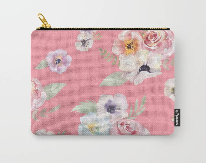 Zipper Pouch - Watercolor Floral I - Bright Pink - 3 Sizes Available - Carry All Clutch Bag Cosmetic Case Makeup