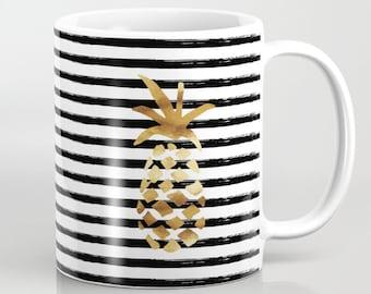 Ceramic Mug - Pineapple and Stripes - Black White and Gold - 11oz or 15oz