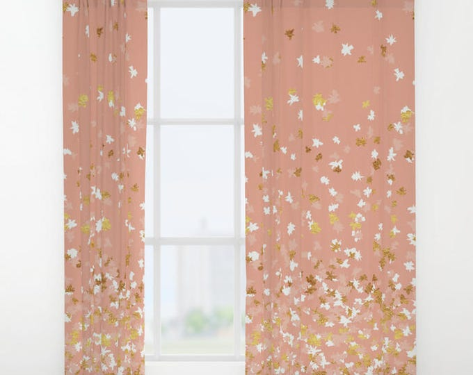 """Window Curtains - Floating Confetti Dots - Peach White Gold - 50"""" x 84"""" - Rod Pocket - Bedroom Decor Accessories Kids Nursery Playroom"""