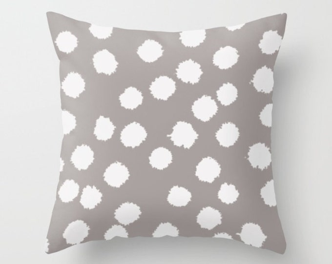 Throw Pillow - Fuzzy Polka Dots - White on Raisin, Robin's Egg, Peach or Dark Gray - Square Cover with Insert - 16x16 18x18 20x20 24x24
