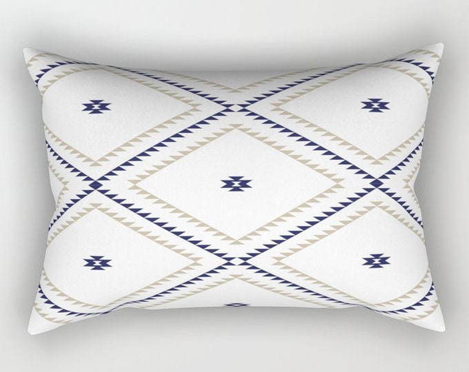 Lumbar Throw Pillow - Navajo Pattern - Tan Navy Blue White - Rectangle Cover and Insert - 17x12 20x14 25.5x18 28x20