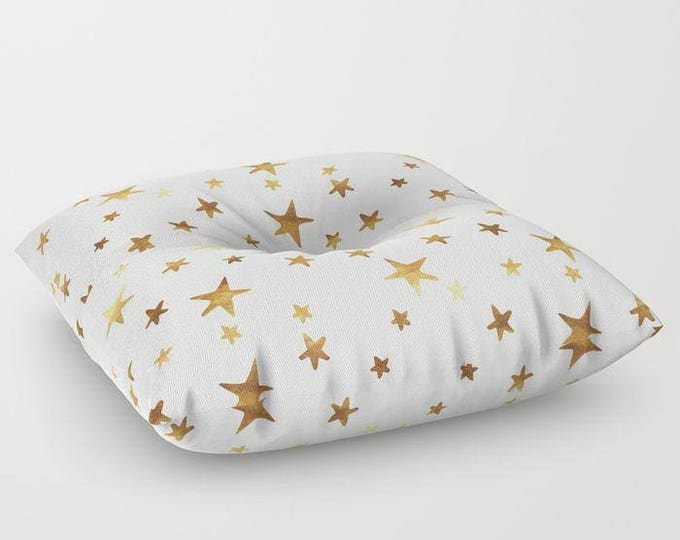 "Oversized Floor Pillow - Star Print - Gold on White - Round or Square - 26"" or 30"" - Throw Poof Pouf Cushion"
