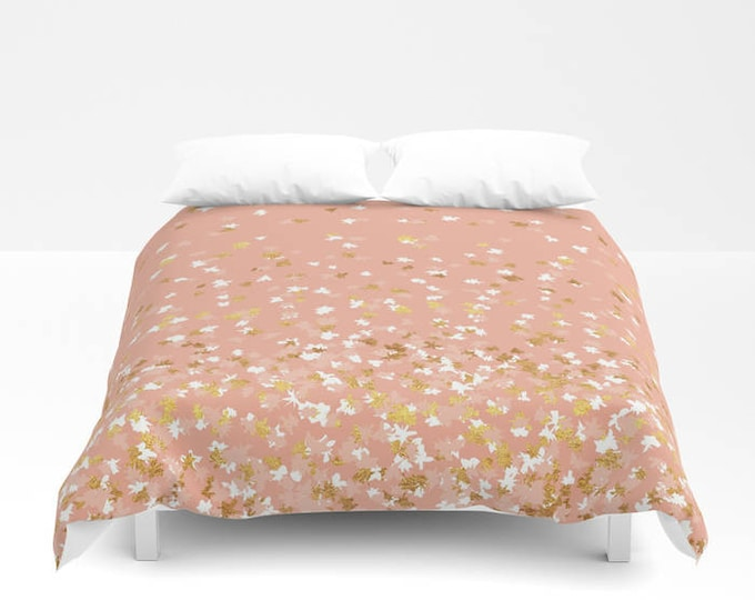 Duvet Cover or Comforter - Floating Confetti Dots - Peach White Gold - Twin XL Full Queen or King - Bedroom Bed