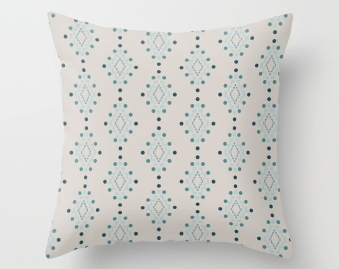 Throw Pillow - Diamond Geometric Pattern - Beige Pink Blue Turquoise - Square Cover with Insert - 16x16 18x18 20x20 24x24