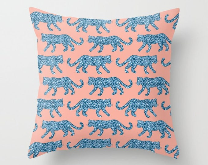Throw Pillow - Leopard Parade - Blue on Bright Coral Pink - Square Cover with Insert - 16x16 18x18 20x20 24x24