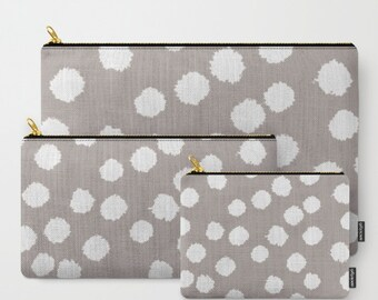 Zipper Pouch - Fuzzy Polka Dots - White on Raisin, Robin's Egg, Peach or Dark Gray - 3 Sizes Available