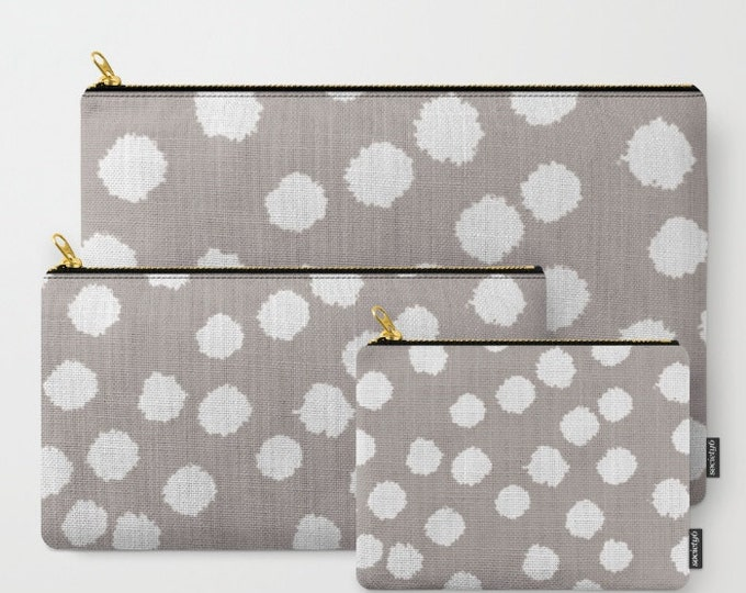 Zipper Pouch - Fuzzy Polka Dots - White on Raisin, Robin's Egg, Peach or Dark Gray - 3 Sizes Available