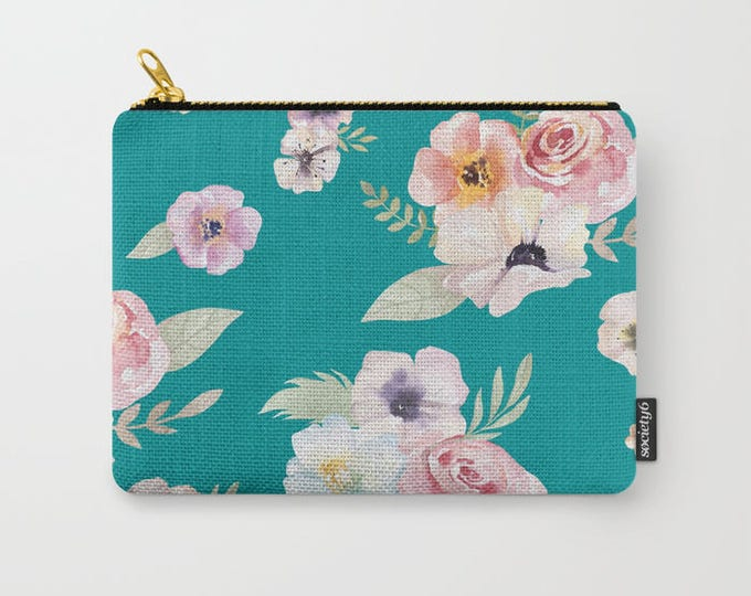 Zipper Pouch - Watercolor Floral I - Teal Turquoise Pink - 3 Sizes Available - Carry All Clutch Bag Cosmetic Case Makeup