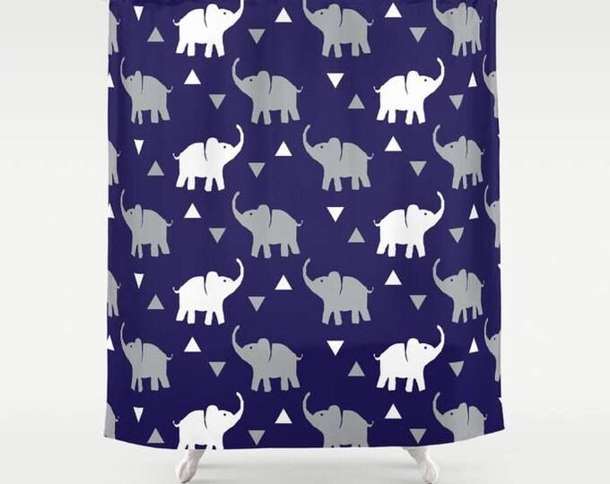 "Shower Curtain - Elephants & Triangles Print - Navy Blue Gray White - 71""x74"" - Bath Curtain Bathroom Decor Accessories - Kids Boys"