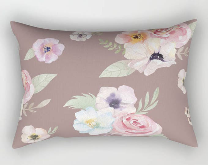 Lumbar Throw Pillow - Watercolor Floral I - Cocoa Brown Pink - Rectangle Cover and Insert - 17x12 20x14 25.5x18 28x20