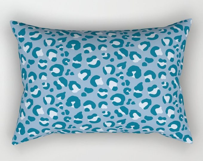 Lumbar Throw Pillow - Leopard Spots - Blue Navy Teal Periwinkle - Rectangle Cover and Insert - 17x12 20x14 25.5x18 28x20