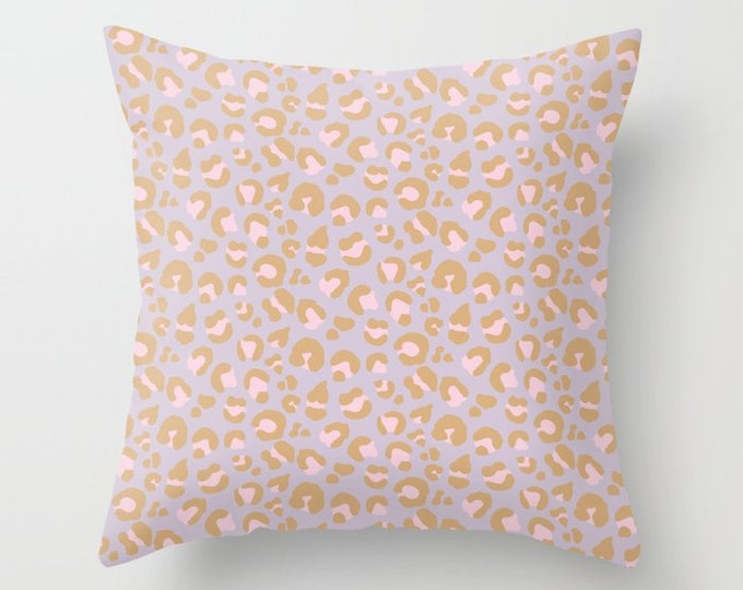 Throw Pillow - Leopard Spots - Blush Pink Lavender Purple Camel - Square Cover with Insert - 16x16 18x18 20x20 24x24