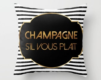 Throw Pillow - Champagne S'il Vous Plait - Badge and Stripes - Gold Black and White - Square Cover with Insert - 16x16 18x18 20x20 24x24