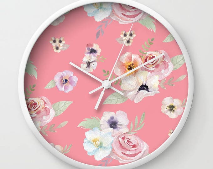 Wall Clock - Watercolor Floral I - Bright Pink - Choose Frame & Hand Colors - Bedroom Decor Accessories Dorm Nursery Playroom