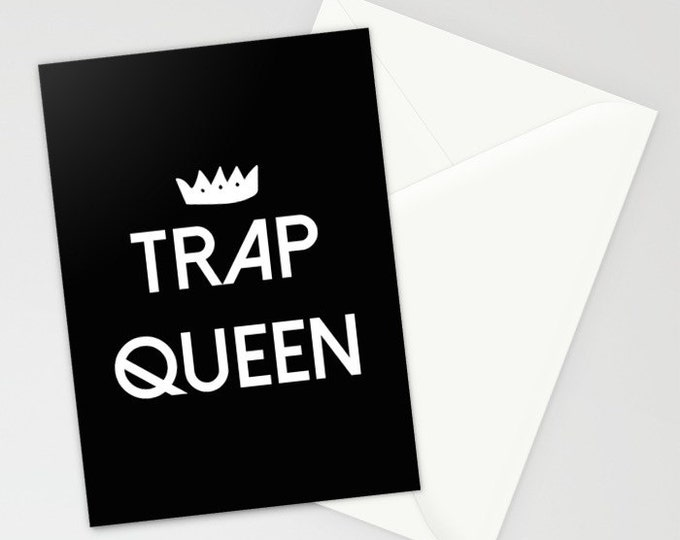 "Greeting Card - Trap Queen - Black White - 5""x7"" Folded Stationery Blank Inside"