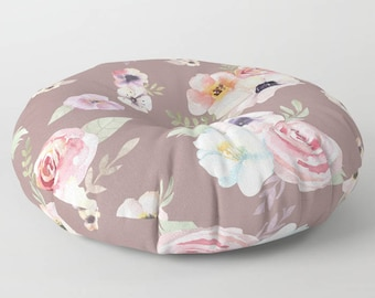 "Oversized Floor Pillow - Watercolor Floral I - Cocoa Brown Pink - Round or Square - 26"" or 30"" - Throw Poof Pouf Cushion"