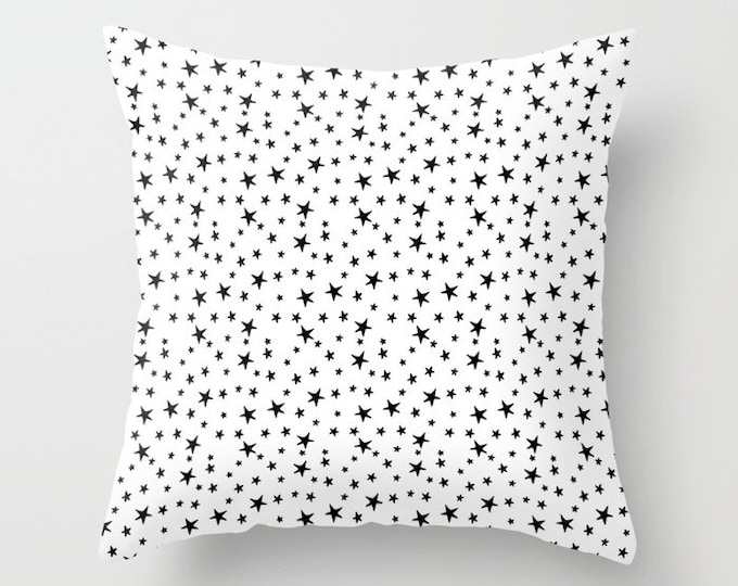 Throw Pillow - Mini Star Print - Black on White - Square Cover with Insert - 16x16 18x18 20x20 24x24