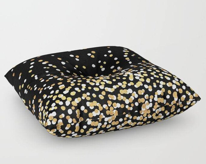 "Oversized Floor Pillow - Floating Dots - Gold Black and White - Round or Square - 26"" or 30"" - Throw Poof Pouf Cushion"