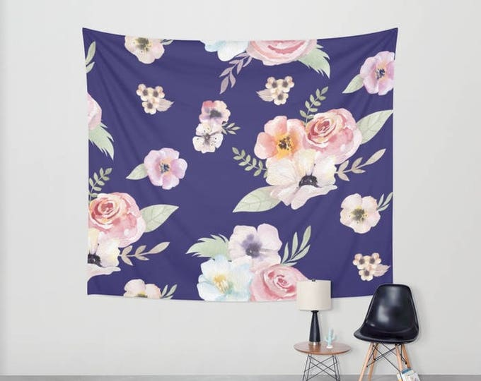Wall Tapestry - Watercolor Floral I - Navy Blue Pink - Small Medium or Large - Bedroom Decor Accessories Dorm Nursery Playroom