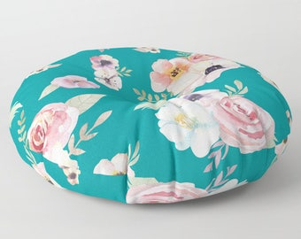 "Oversized Floor Pillow - Watercolor Floral I - Teal Turquoise Pink - Round or Square - 26"" or 30"" - Throw Poof Pouf Cushion"