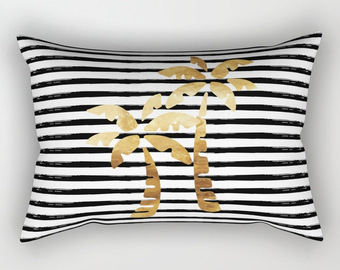 Lumbar Throw Pillow - Palm Trees and Stripes - Gold Black and White - Rectangle Cover and Insert - 17x12 20x14 25.5x18 28x20