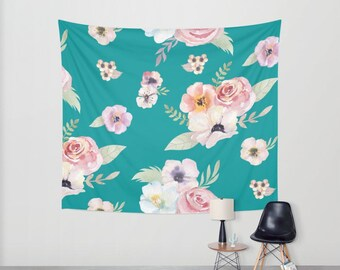 Wall Tapestry - Watercolor Floral I - Teal Turquoise Pink - Small Medium or Large - Bedroom Decor Accessories Dorm Nursery Playroom