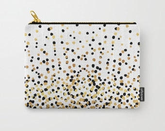 Zipper Pouch - Floating Dots - Gold Black and White - 3 Sizes Available