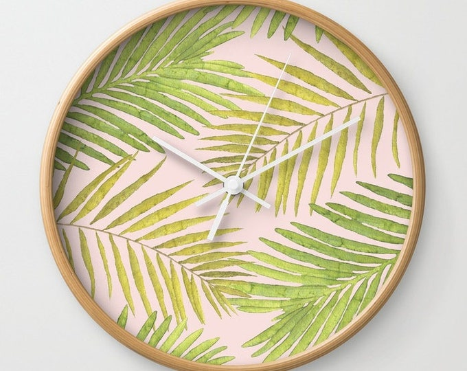 Wall Clock - Palms Against Blush - Pink Green Yellow - Choose Frame & Hand Colors - Bedroom Decor Accessories Dorm Nursery Playroom