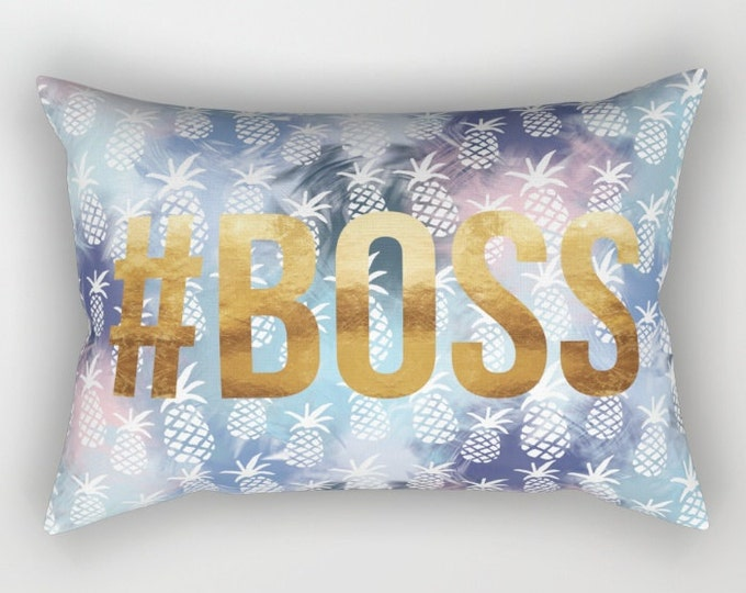 Lumbar Throw Pillow - Pineapples & #BOSS - Navy Blue Blend Pattern Gold - Rectangle Cover and Insert - 17x12 20x14 25.5x18 28x20