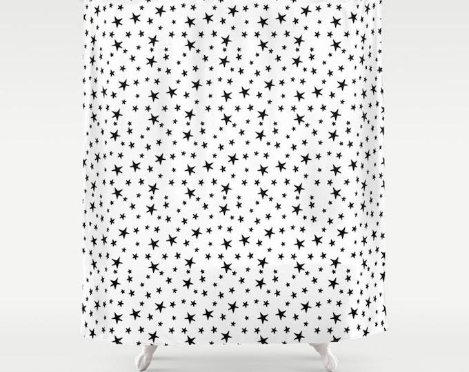 "Shower Curtain - Mini Star Print - Black on White - 71""x74"" - Bath Curtain Bathroom Decor Accessories - Optional: Bundle with a Bath Mat!"