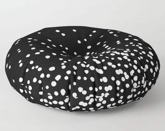 "Oversized Floor Pillow - Floating Dots - Black and White - Round or Square - 26"" or 30"" - Throw Poof Pouf Cushion"