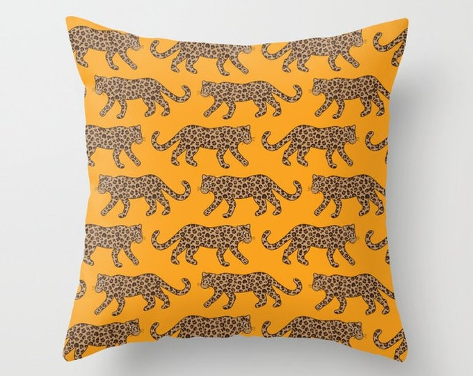 Throw Pillow - Leopard Parade - Classic Brown Tan Camel Bright Orange - Square Cover with Insert - 16x16 18x18 20x20 24x24