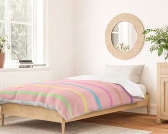 Duvet Cover or Comforter - Rainbow Stripes - Pink Blue Yellow Green - Twin XL Full Queen King - Microfiber or 100% Cotton - Shams Optnl