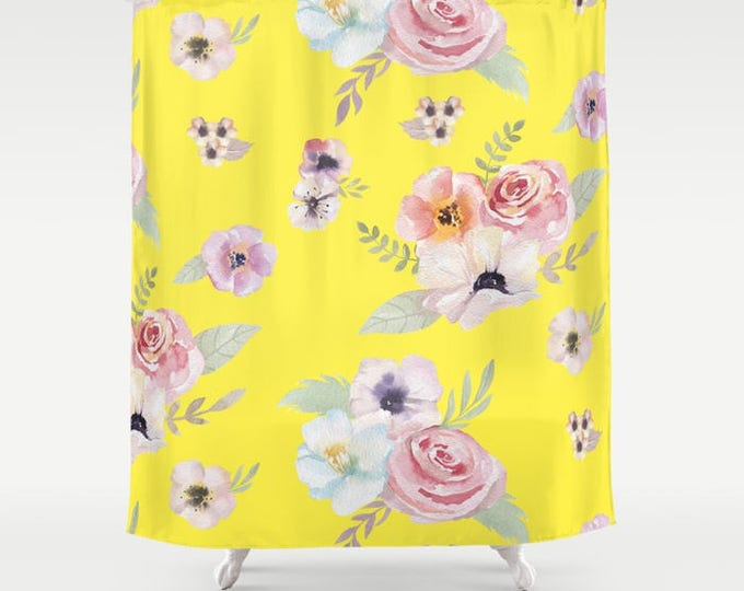 "Shower Curtain - Watercolor Floral I - Bright Yellow Pink - 71""x74"" - Bath Curtain Bathroom Decor Accessories - Optional Bundle w/ Bath Mat"