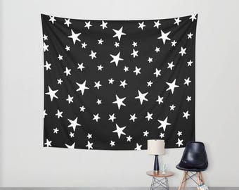 Wall Tapestry - Star Print - White on Black - Small Medium or Large - Bedroom Decor Accessories Dorm Nursery Playroom