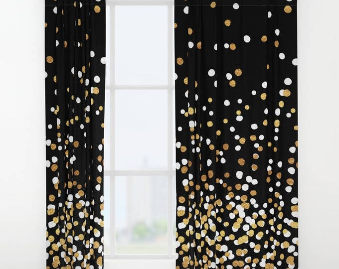 """Window Curtains - Floating Dots - Gold White and Black - 50"""" x 84"""" - Rod Pocket - Bedroom Decor Accessories Kids Nursery Playroom"""