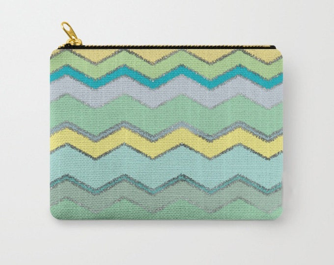 Zipper Pouch - Multi Chevron and Brushed Silver - Green Mint Blue Yellow - 3 Sizes Available