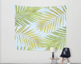 Wall Tapestry - Palms Against the Sky - Green Yellow Light Blue - Small Medium or Large - Bedroom Decor Accessories Dorm Nursery Playroom