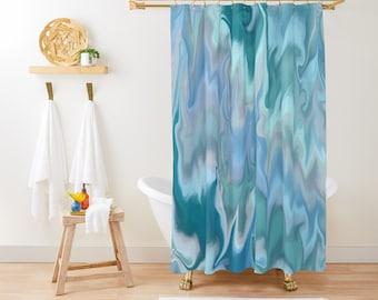 """Shower Curtain - Pastel Marble - Blue Teal Mint Aqua Blush Pink - 71""""x74"""" - Bath Curtain Bathroom Decor Accessories - Optional Bath Mat!"""