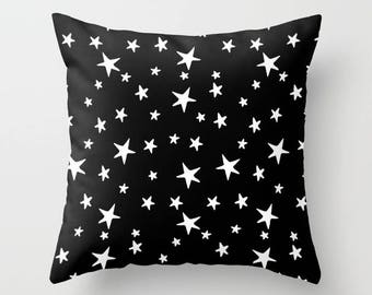Throw Pillow - Star Print - White on Black - Square Cover with Insert - 16x16 18x18 20x20 24x24