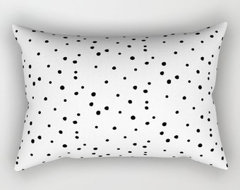 Lumbar Throw Pillow - Dalmatian Polka Dots - White and Black - Rectangle Cover and Insert - 17x12 20x14 25.5x18 28x20