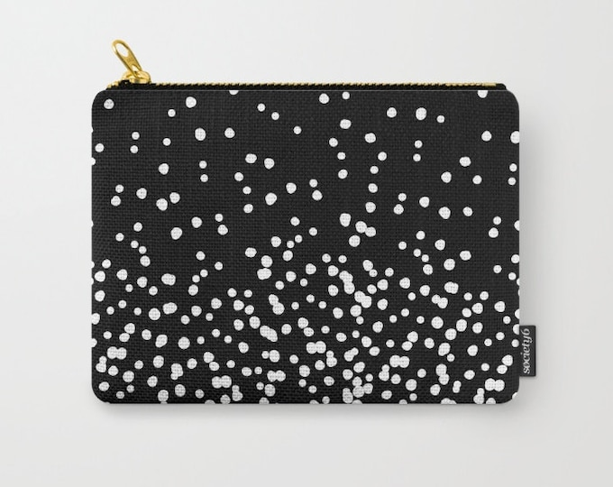 Zipper Pouch - Floating Dots - Black and White - 3 Sizes Available
