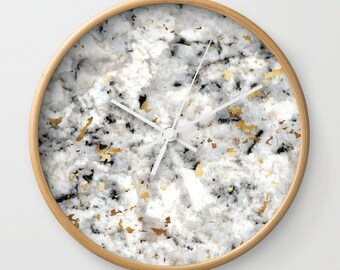 Wall Clock - Classic Marble with Gold Specks - Choose Frame & Hand Colors - Bedroom Decor Accessories Dorm Nursery Playroom