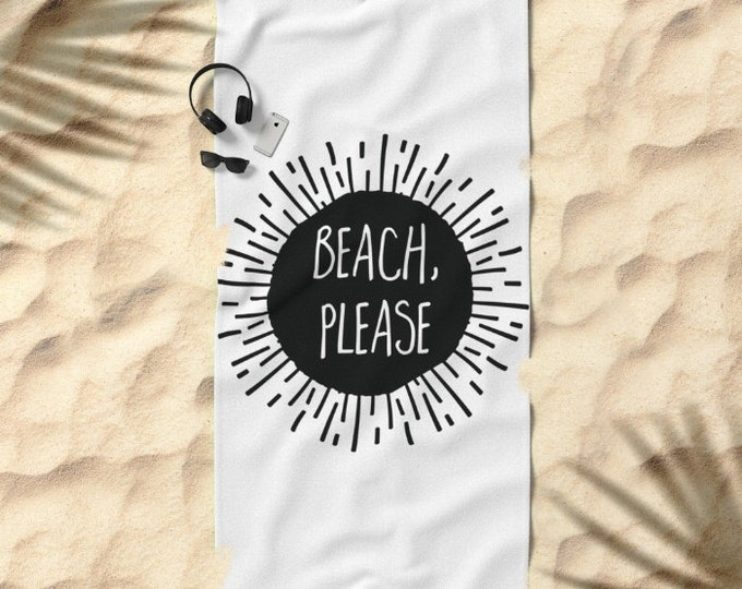 Oversized Beach Towel - Beach Please Sunburst - Black and White
