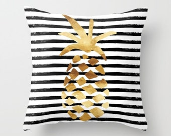 Throw Pillow - Pineapple and Stripes - Gold Black White - Square Cover with Insert - 16x16 18x18 20x20 24x24