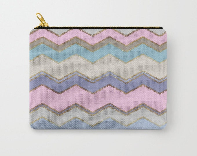 Zipper Pouch - Multi Chevron and Brushed Gold - Pink Purple Blue Beige - 3 Sizes Available